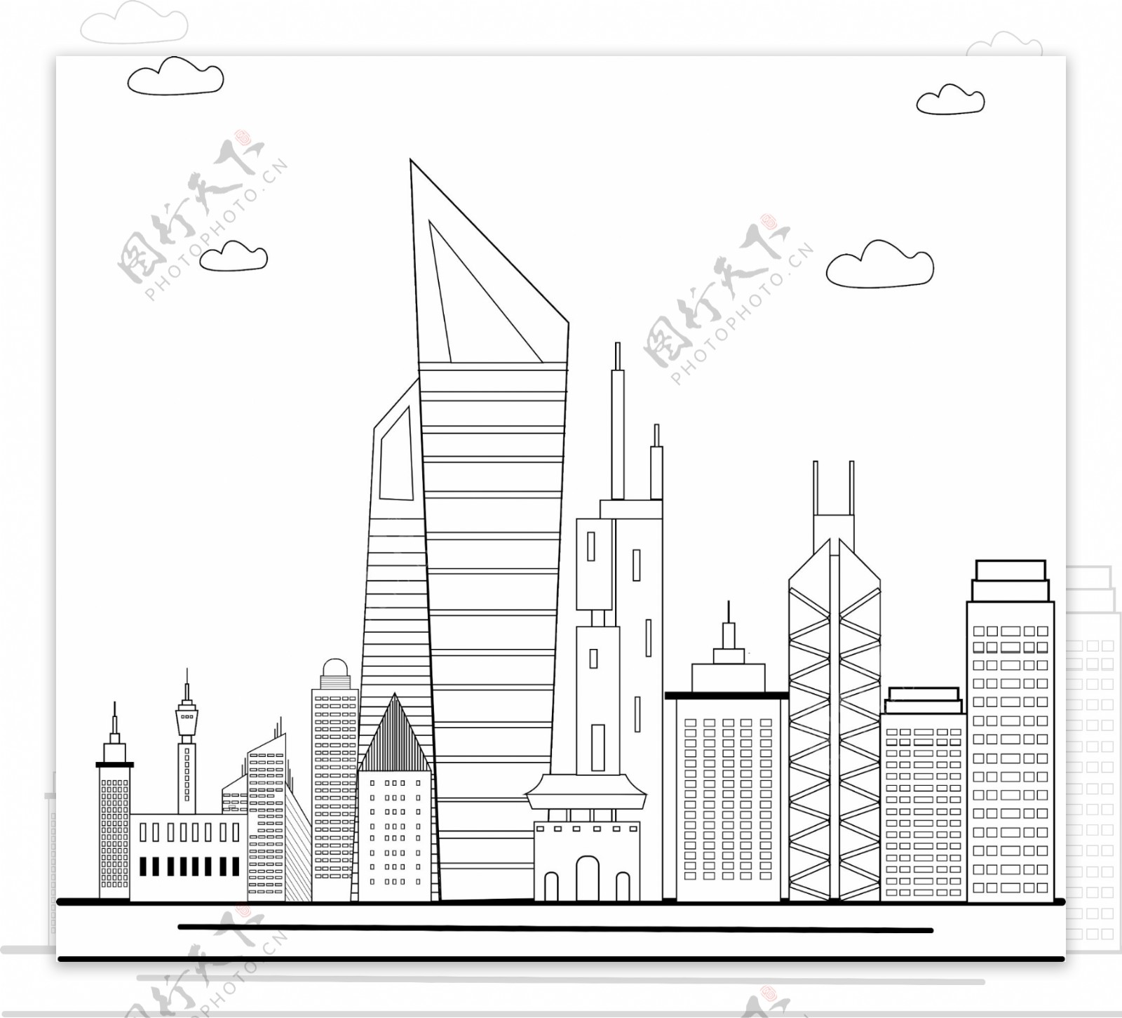 城市建筑线稿线条